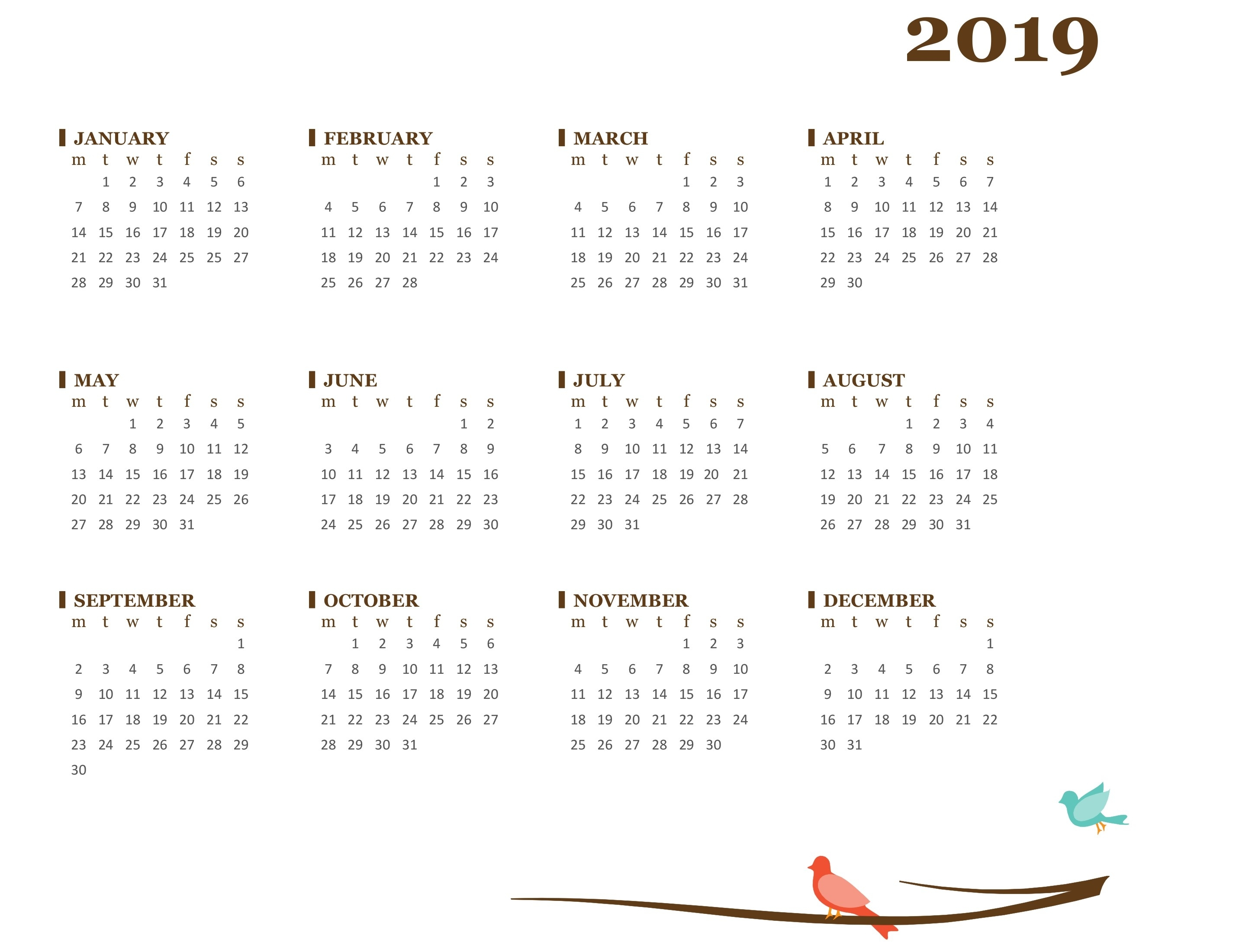 Bird Yearly Calendar (Mon-Sun)