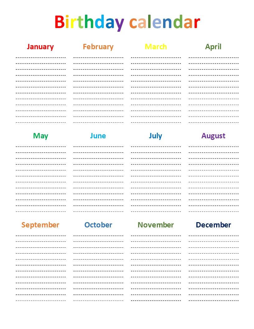 Birthday Calendar Rainbow Color Chart | Templates At