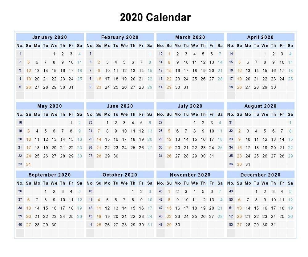 Blank 2020 12 Months Calendar | 2020 Calendars | Monthly