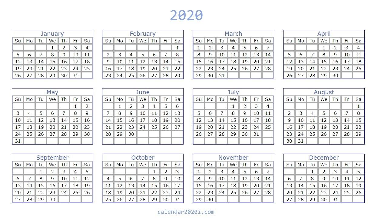 Blank 2020 Calendar Printable Templates | Calendar 2020