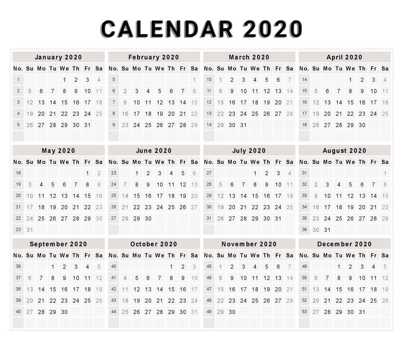Blank 2020 One Page Calendar Printable | Free Printable