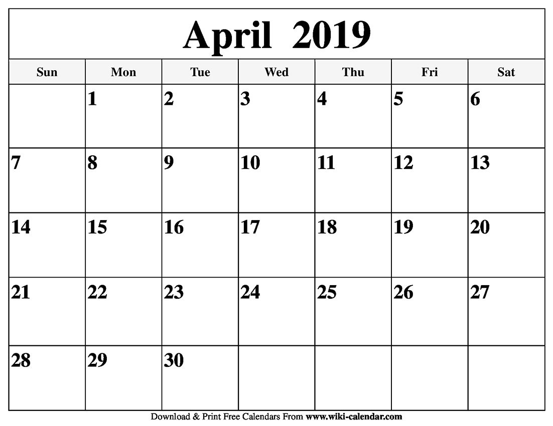 Blank April 2019 Calendar Printable Holidays Template Word