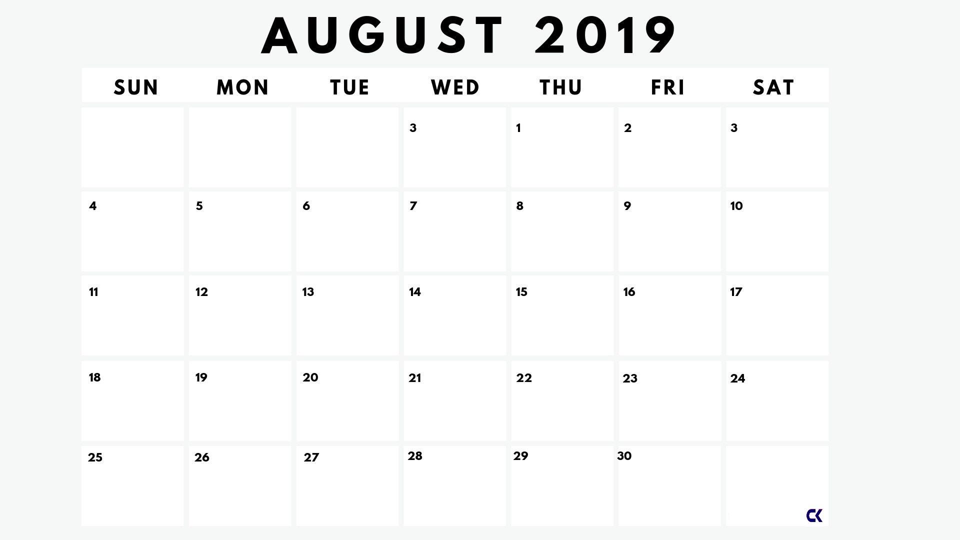 Blank August 2019 Calendar Pdf Template - Calendar-Kart