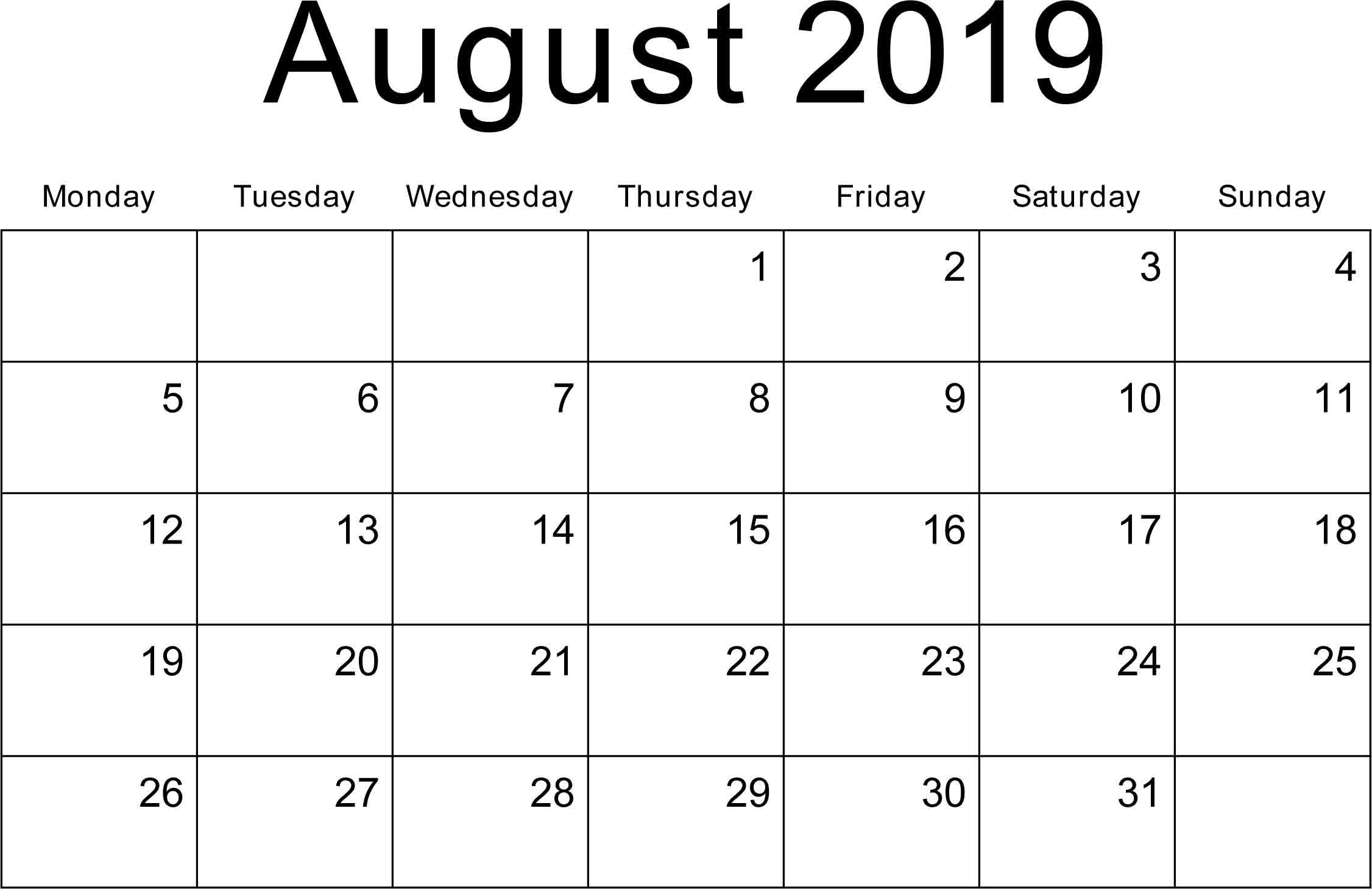 Blank August 2019 Printable Calendar Free | Printable