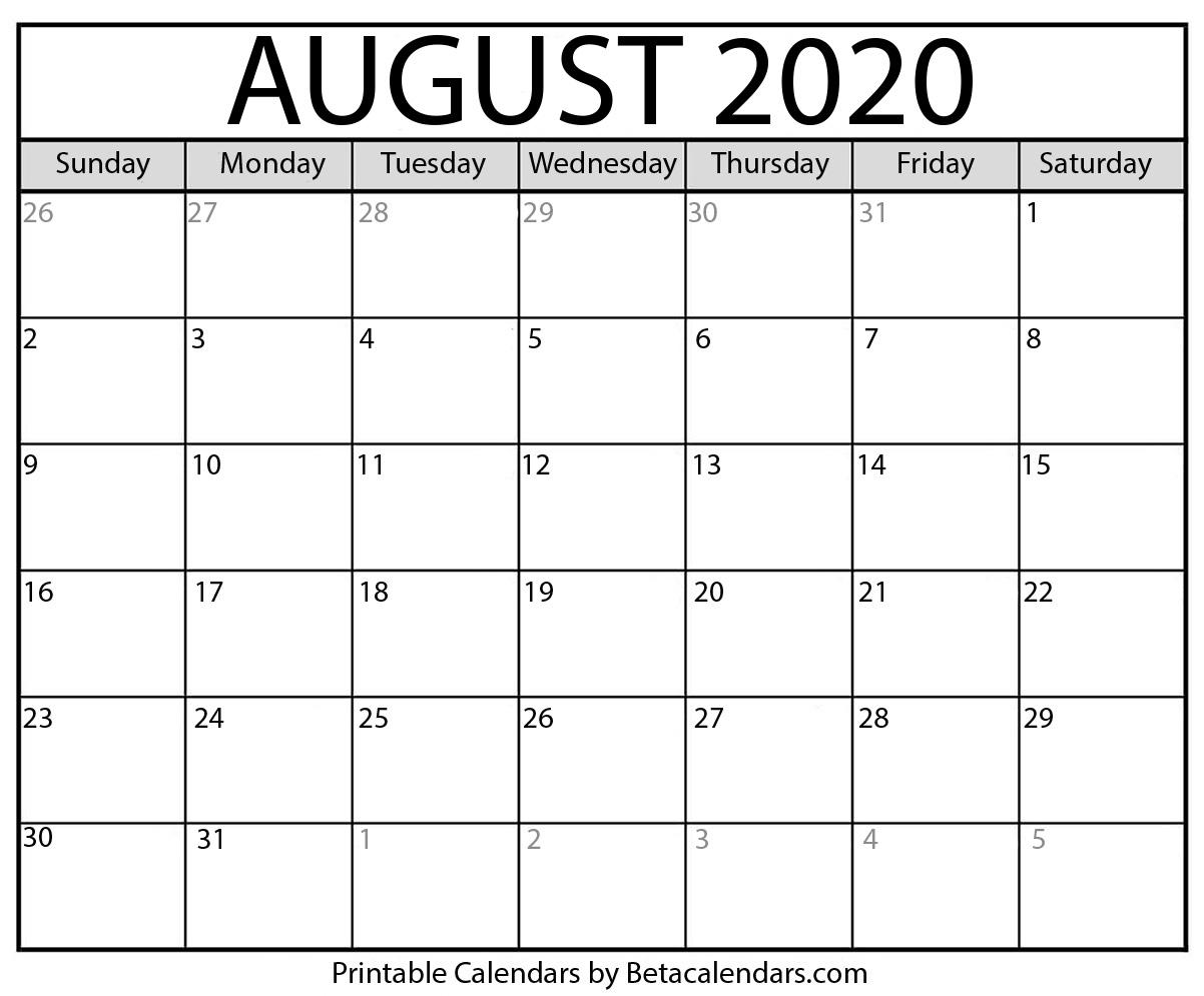 Blank August 2020 Calendar Printable - Beta Calendars