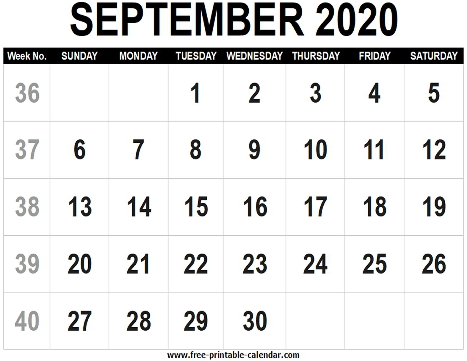 Blank Calendar 2020 September - Free-Printable-Calendar