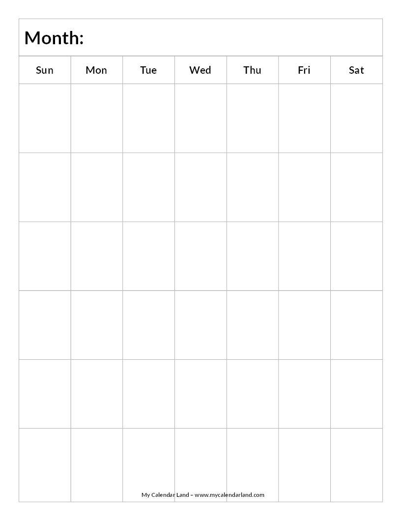 Blank-Calendar-6-Weeks-Portrait-C … | Blank Calendar