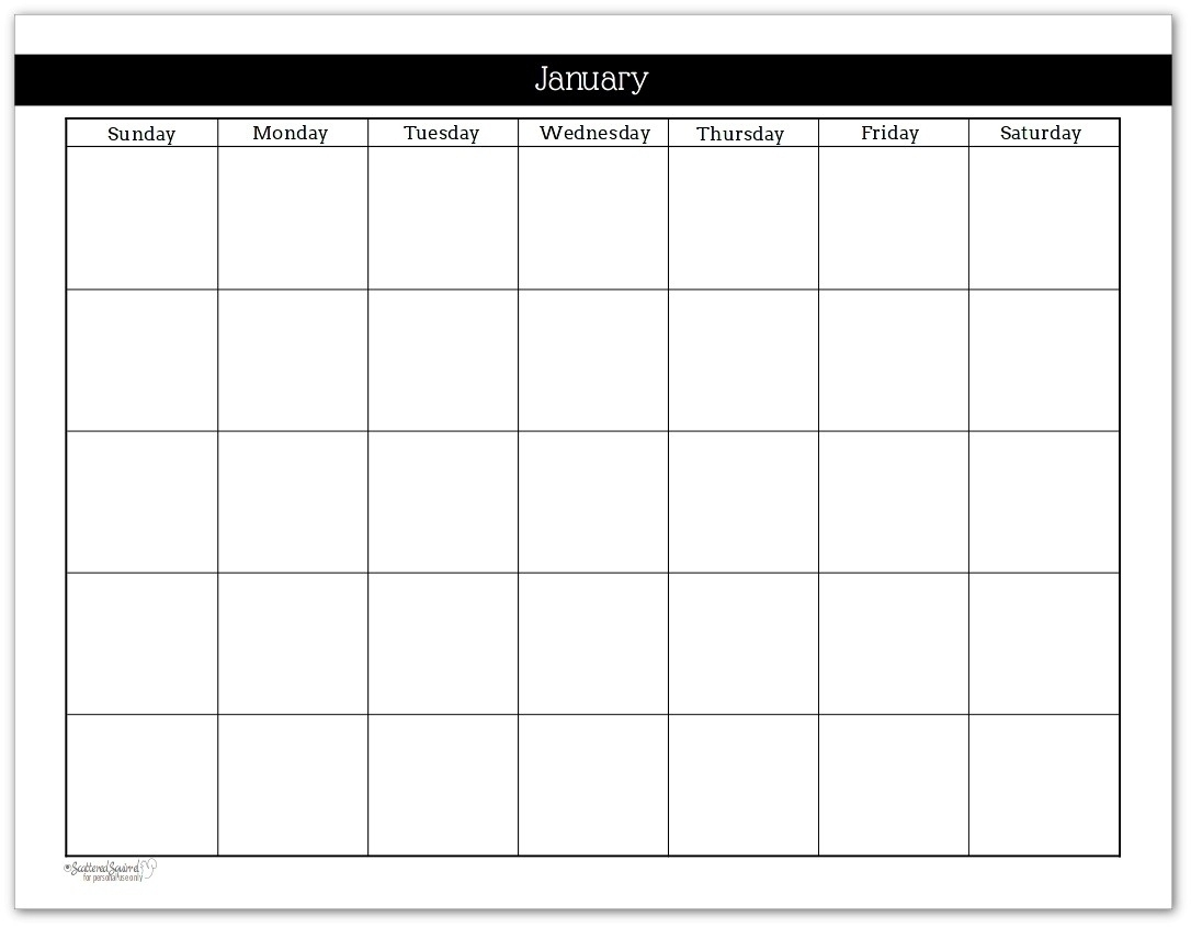 Blank Calendar Mon Through Fri With No Dates Or Month