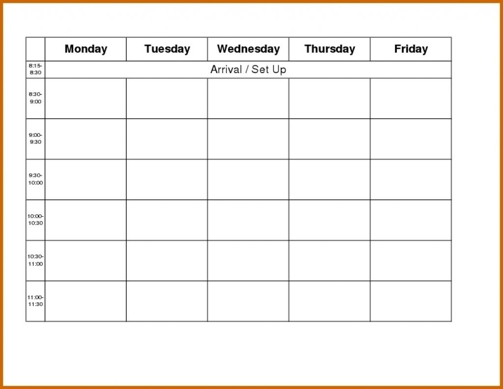 Blank Calendar Monday Through Friday - Urgup.ewrs2018