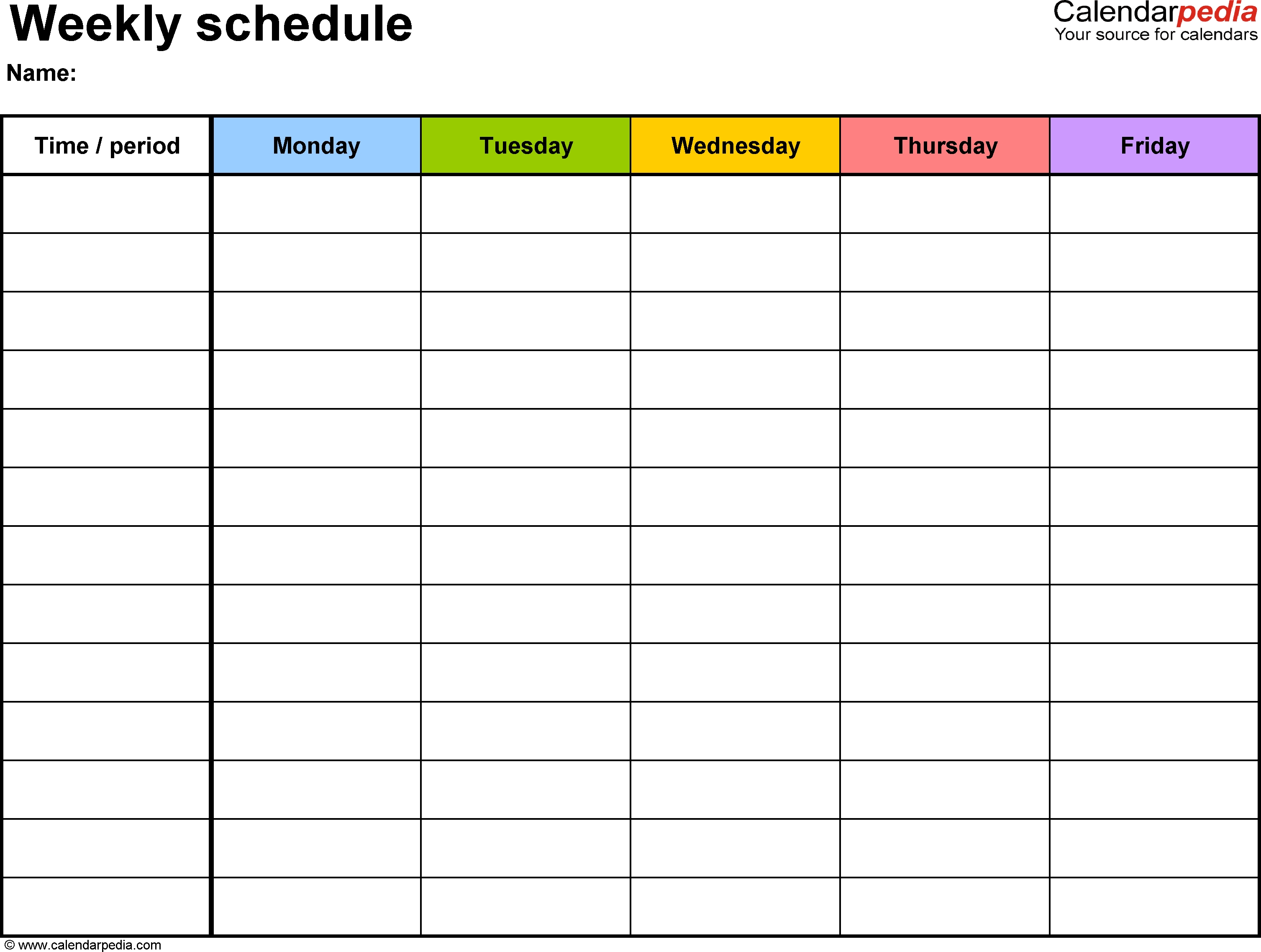 Blank Calendar Print Out | Schedule Templates, Weekly