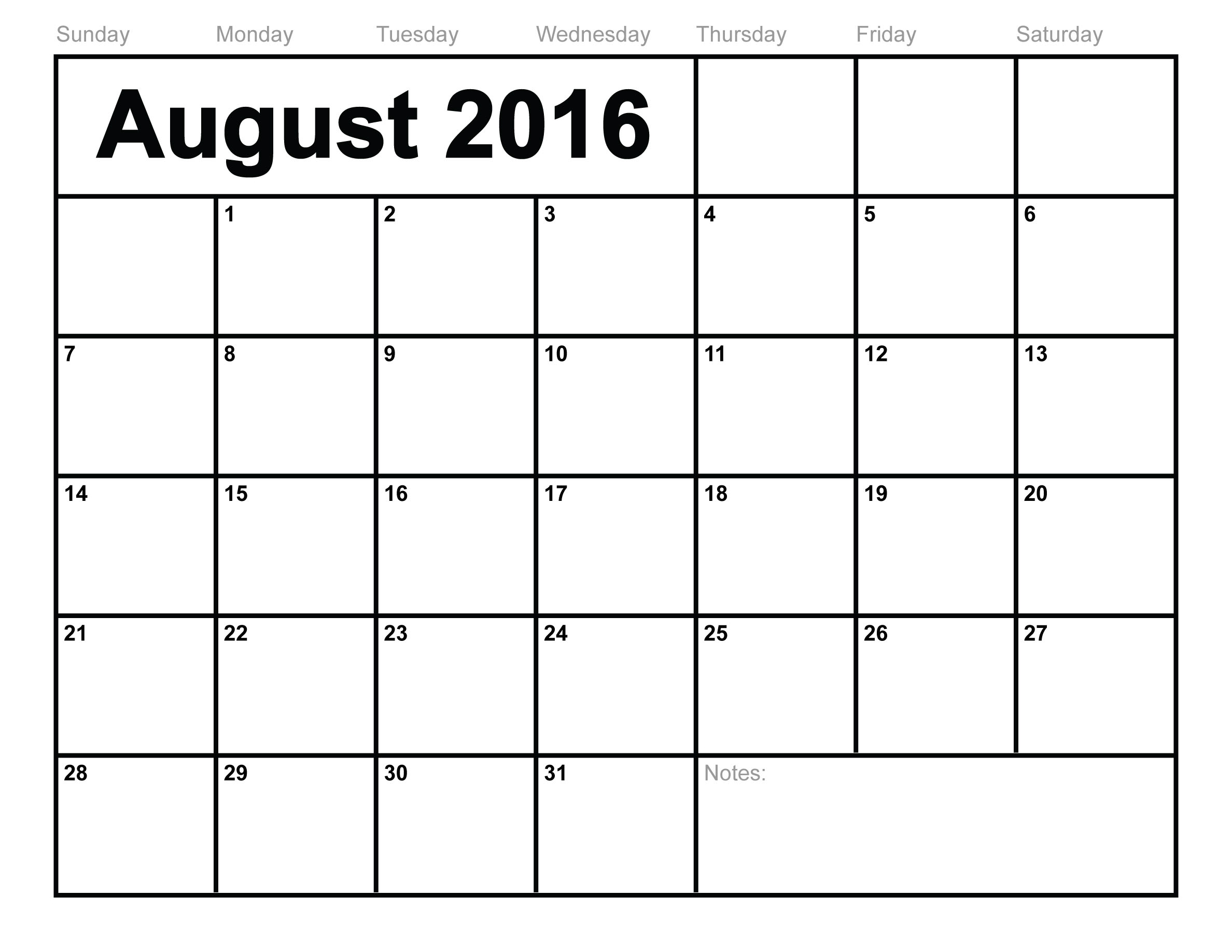 Blank Calendar Template 2016 That You Can Type In | Calendar