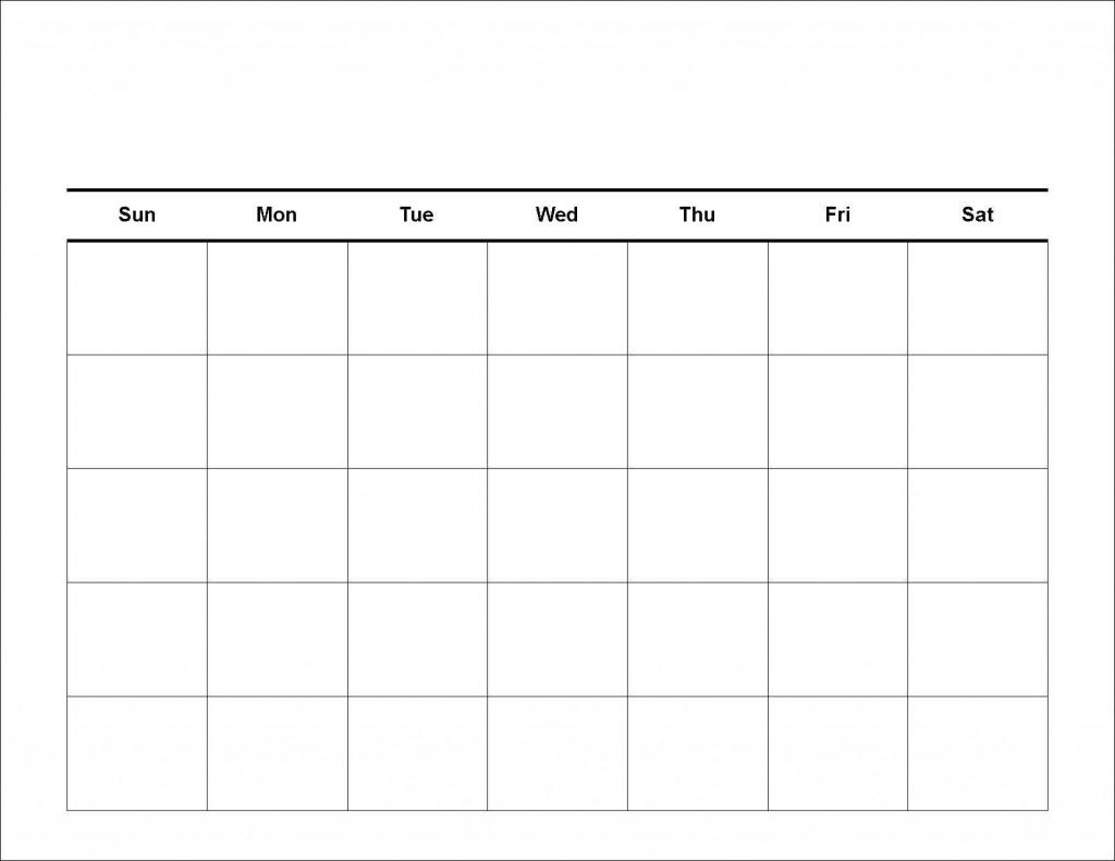 Blank Calendar Template 5 Day | Beauty Calendar Printable