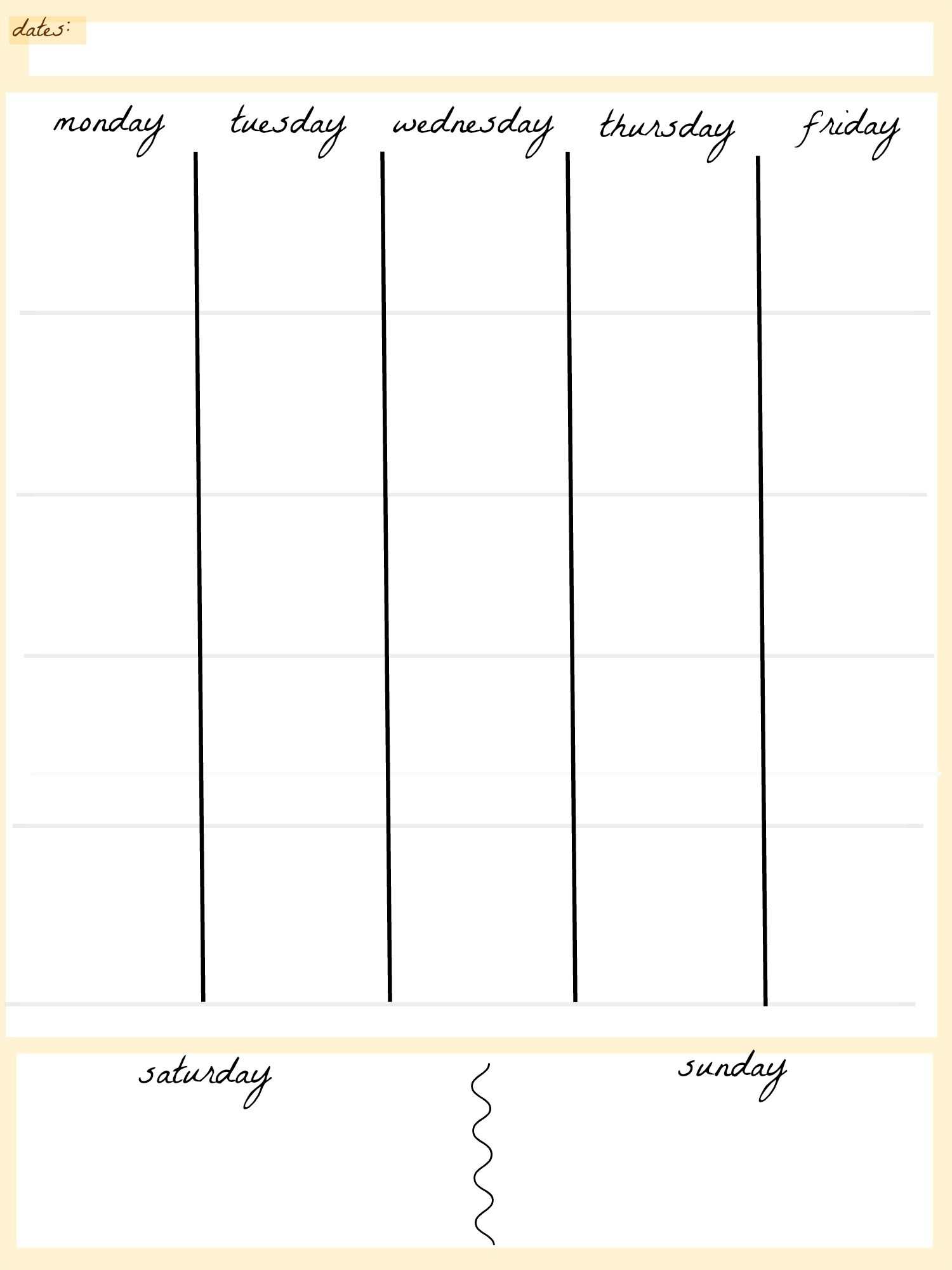 Blank Calendar Template 5 Day Week Weekly Calendar 5 Day