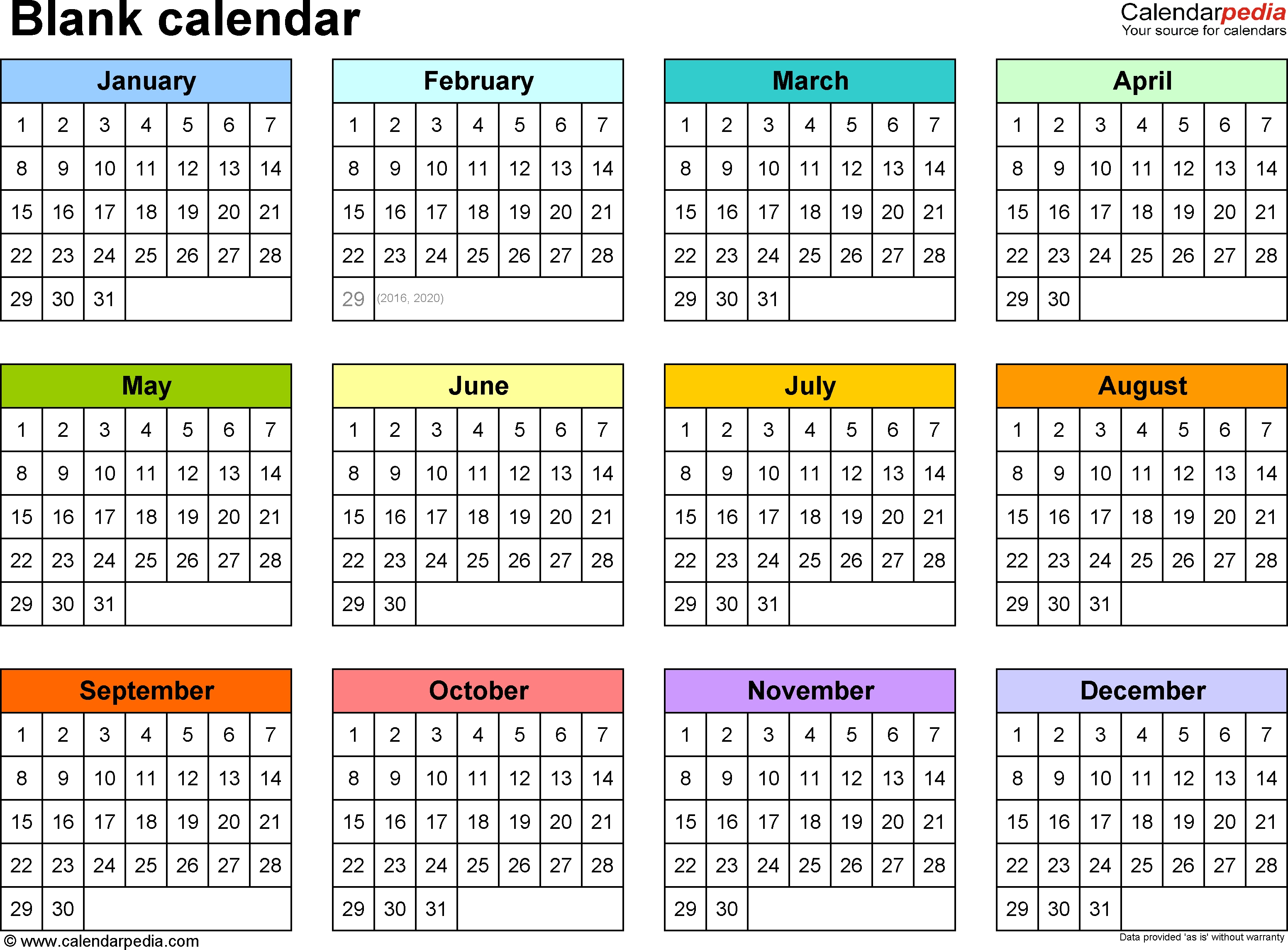 Blank Calendars - Free Printable Microsoft Excel Templates