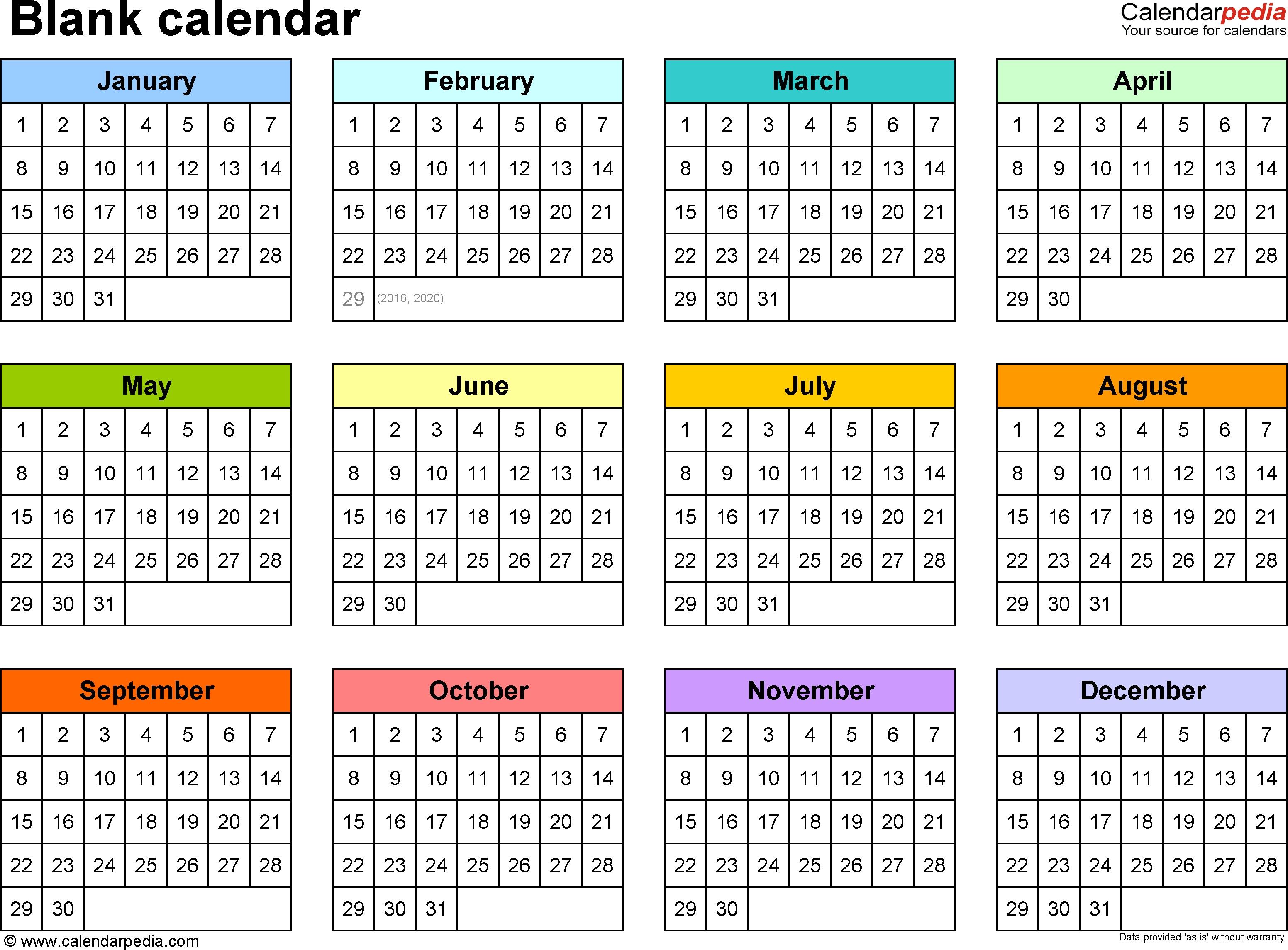 Blank Calendars - Free Printable Microsoft Word Templates