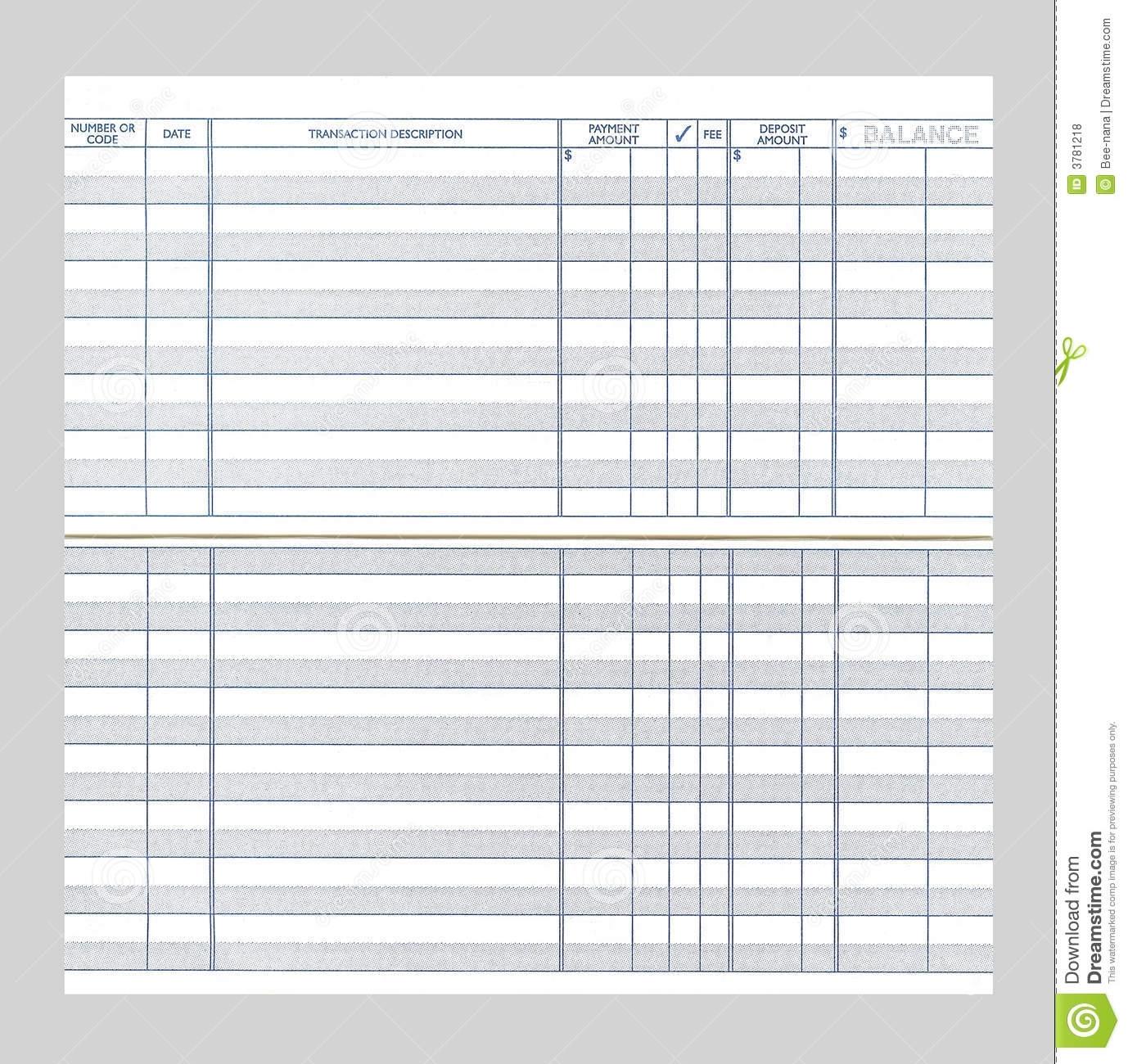 Blank Checkbook Register Stock Photo. Image Of Register
