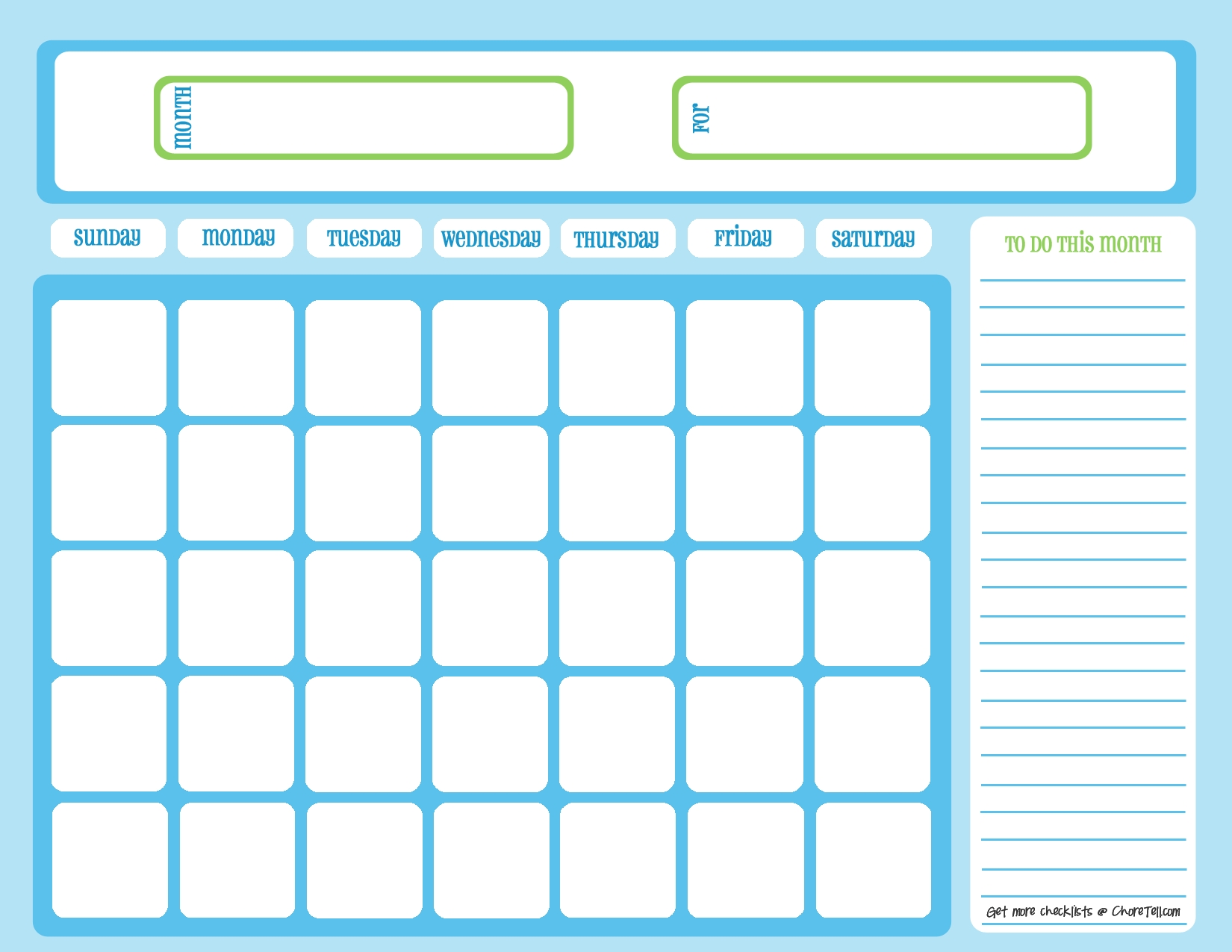 Blank Chore Calendar, Blue On Light Blue | Free Printable