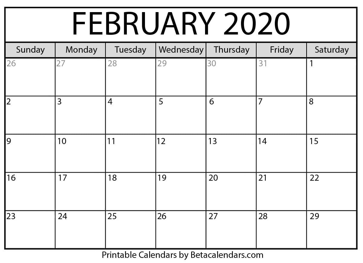 Blank February 2020 Calendar Printable - Beta Calendars