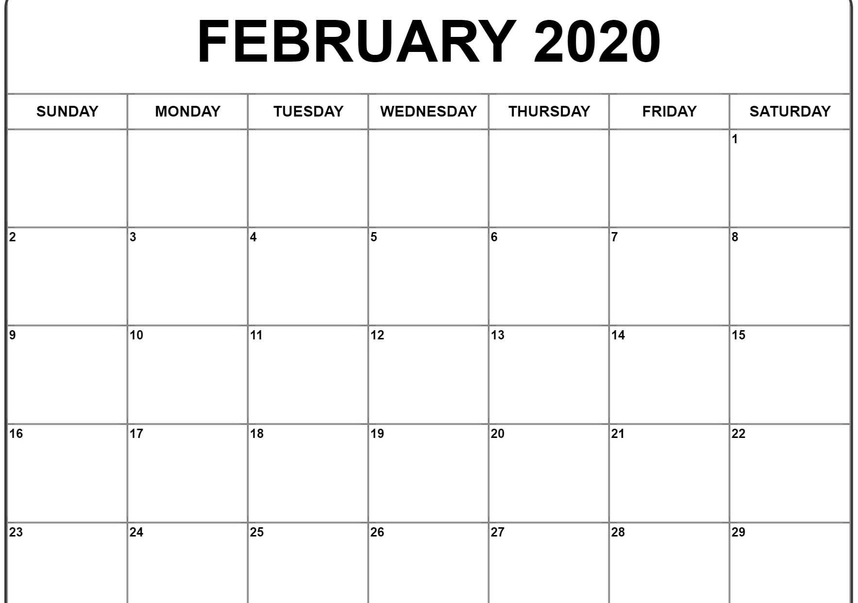 Blank February 2020 Calendar Printable Free Download