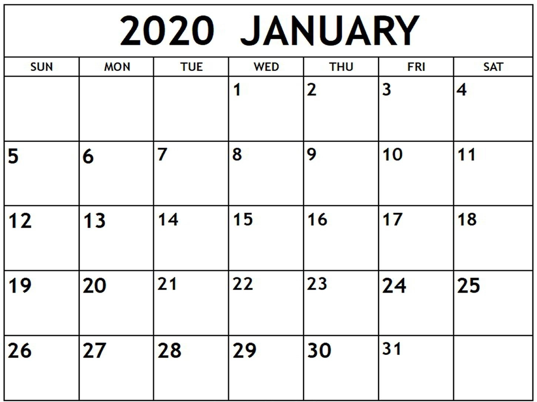 Blank January 2020 Calendar Printable Free Download