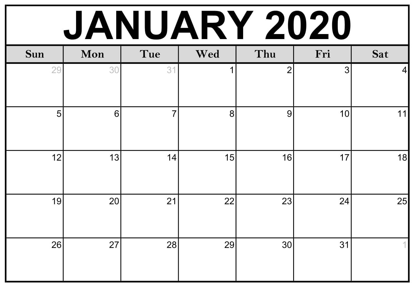 Blank January 2020 Calendar Printable Free Download