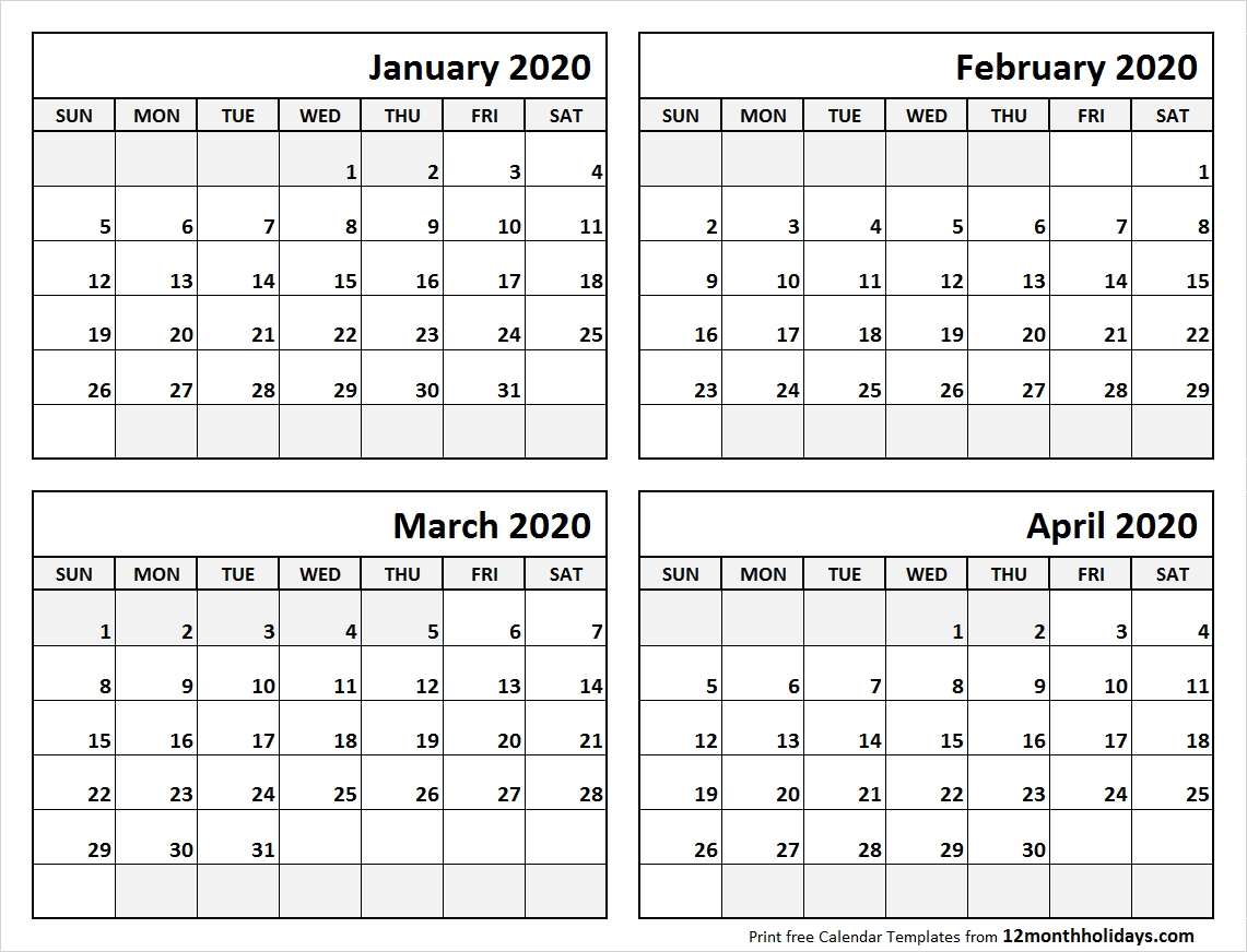Blank-January-To-April-Calendar-2020-Template - All 12 Month