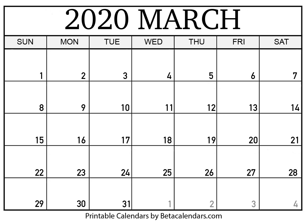 Blank March 2020 Calendar Printable - Beta Calendars