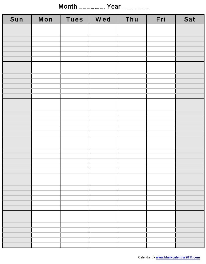 Blank Monthly Calendar With Lines | Gallery Of Calendar