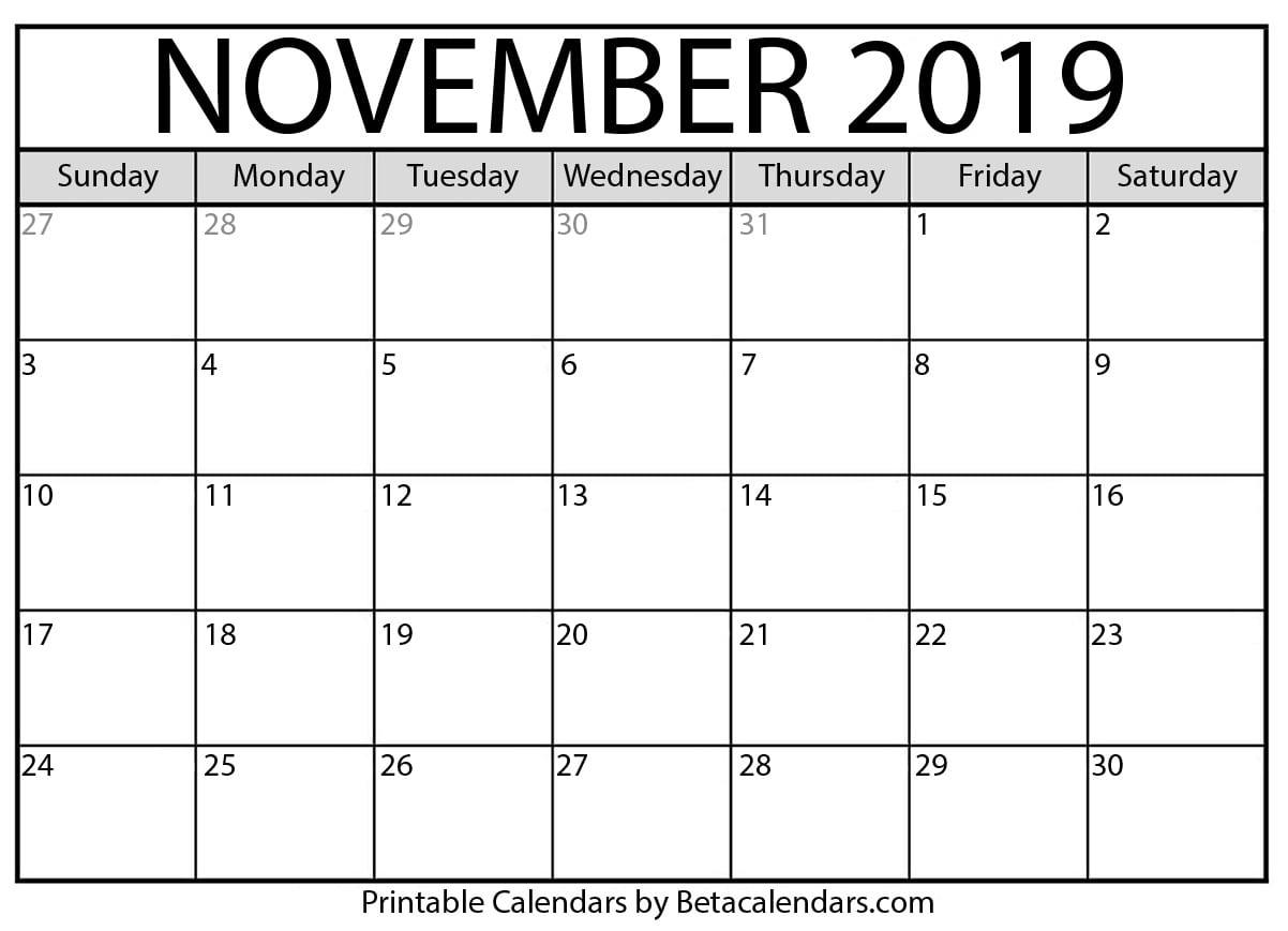 Blank November 2019 Calendar Printable - Beta Calendars