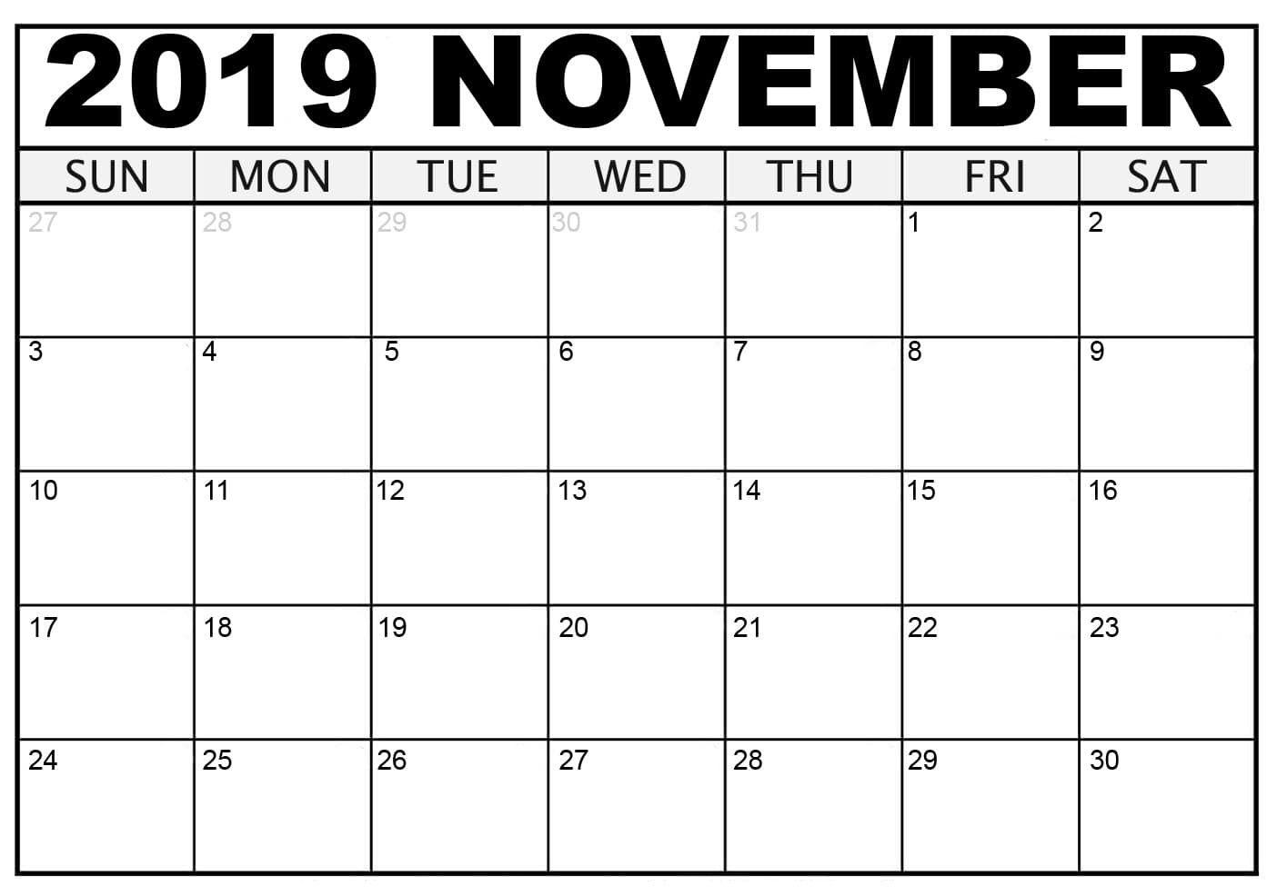 Blank November Calendar 2019 Printable Template Pdf Word