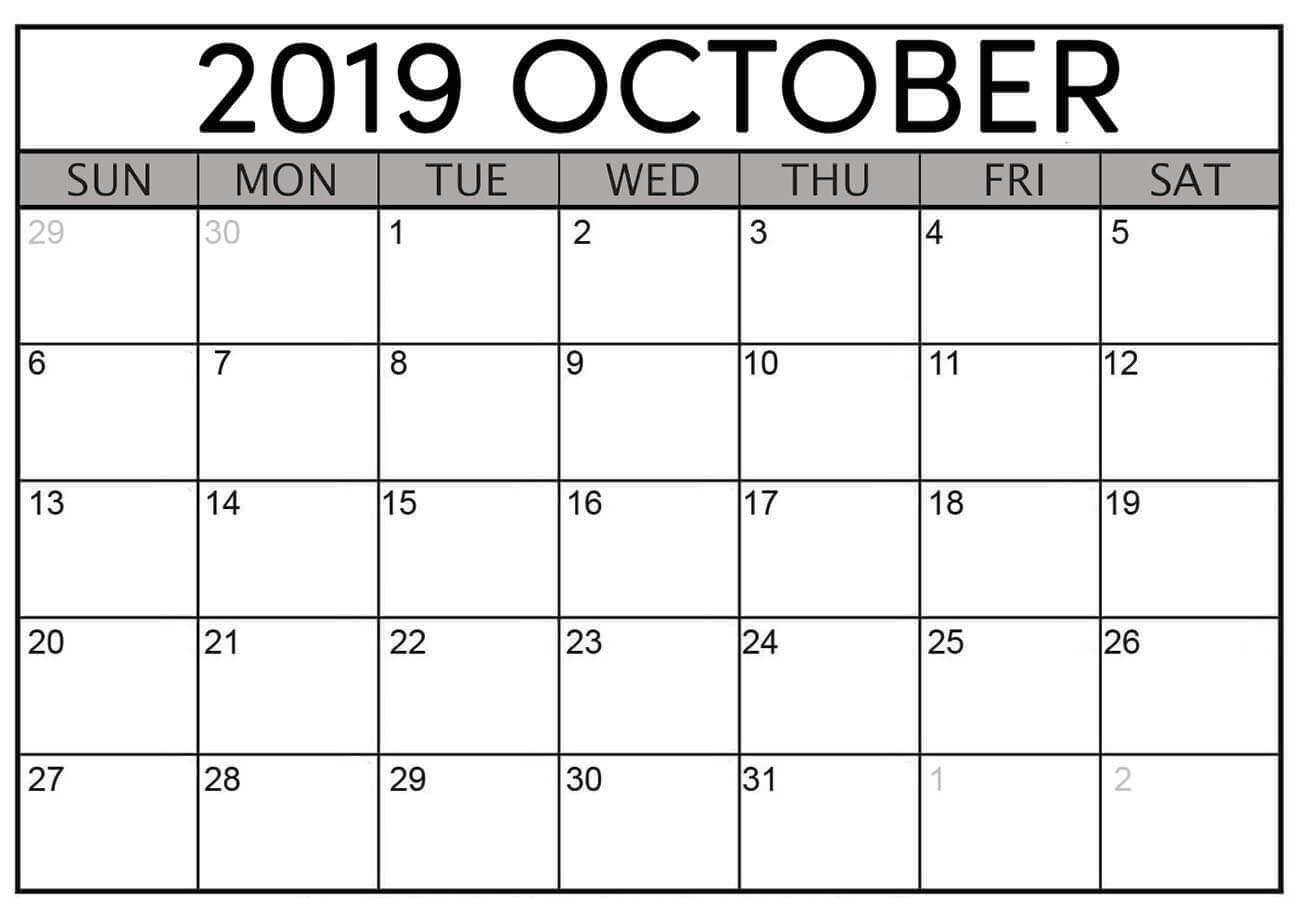 Blank October 2019 Calendar Printable Free Download