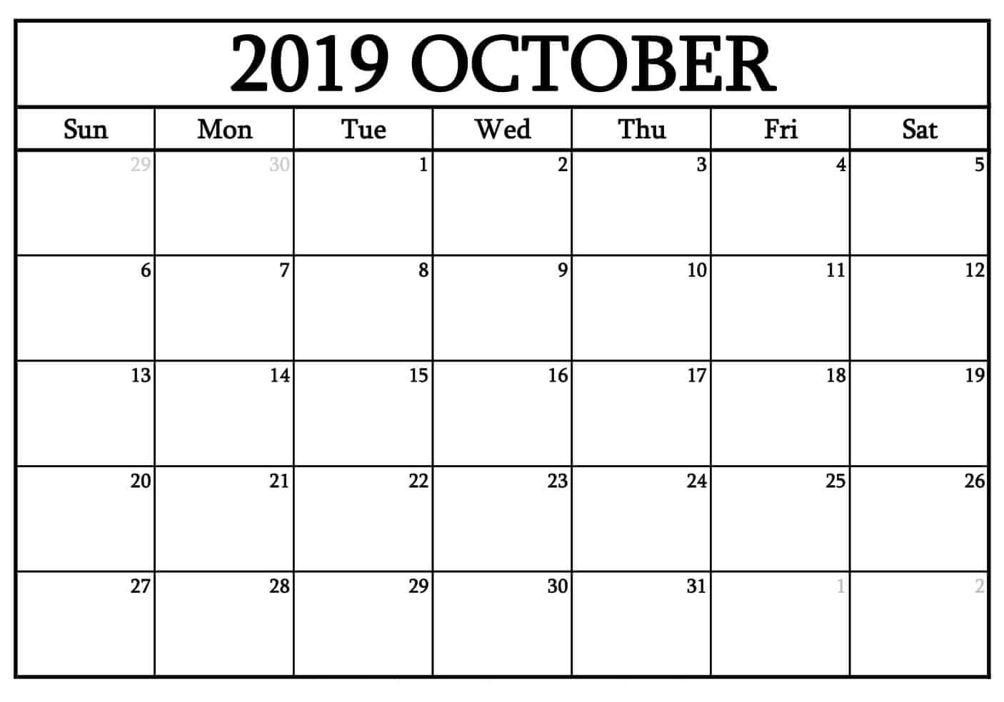 Blank October 2019 Calendar Word - Free Printable Calendar