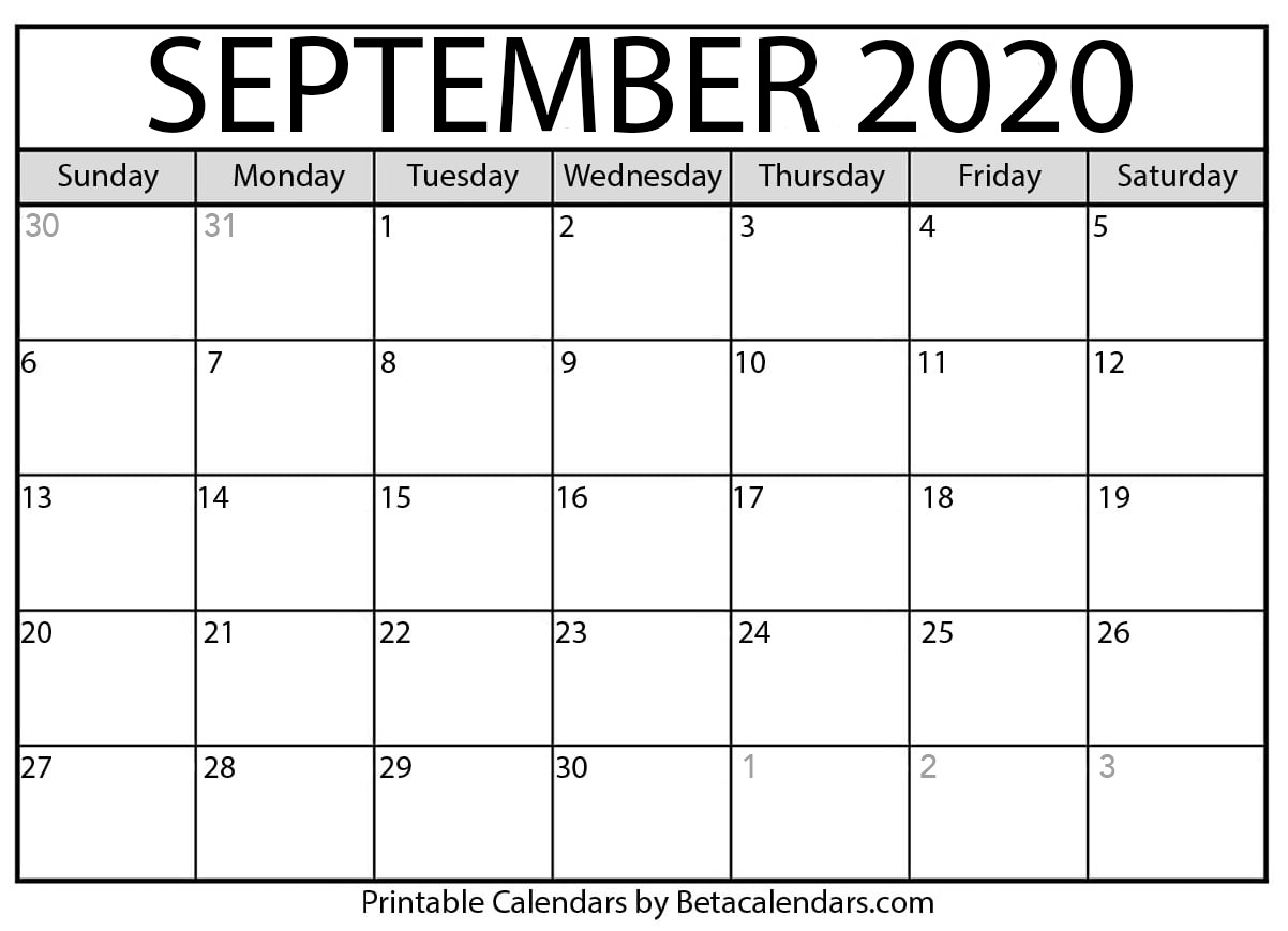 Blank September 2020 Calendar Printable - Beta Calendars