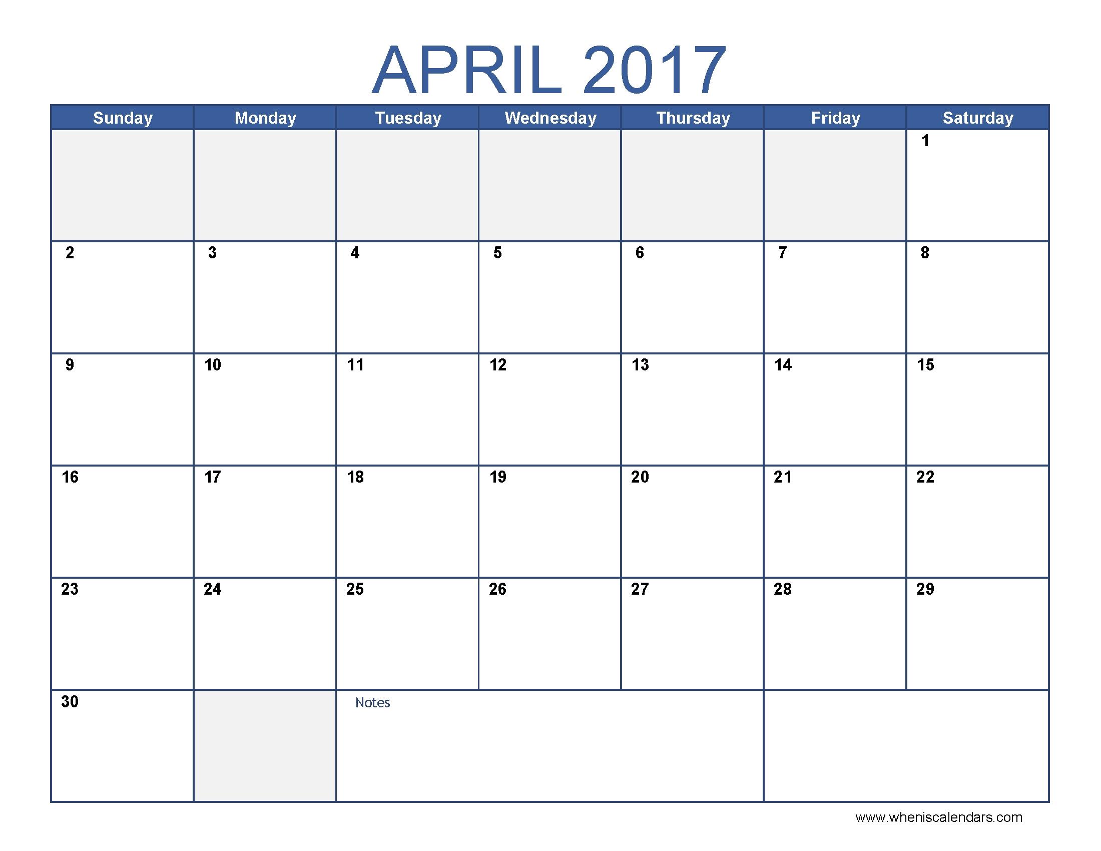 Blue-Printable-Blank-2017-April-Calendar-Template
