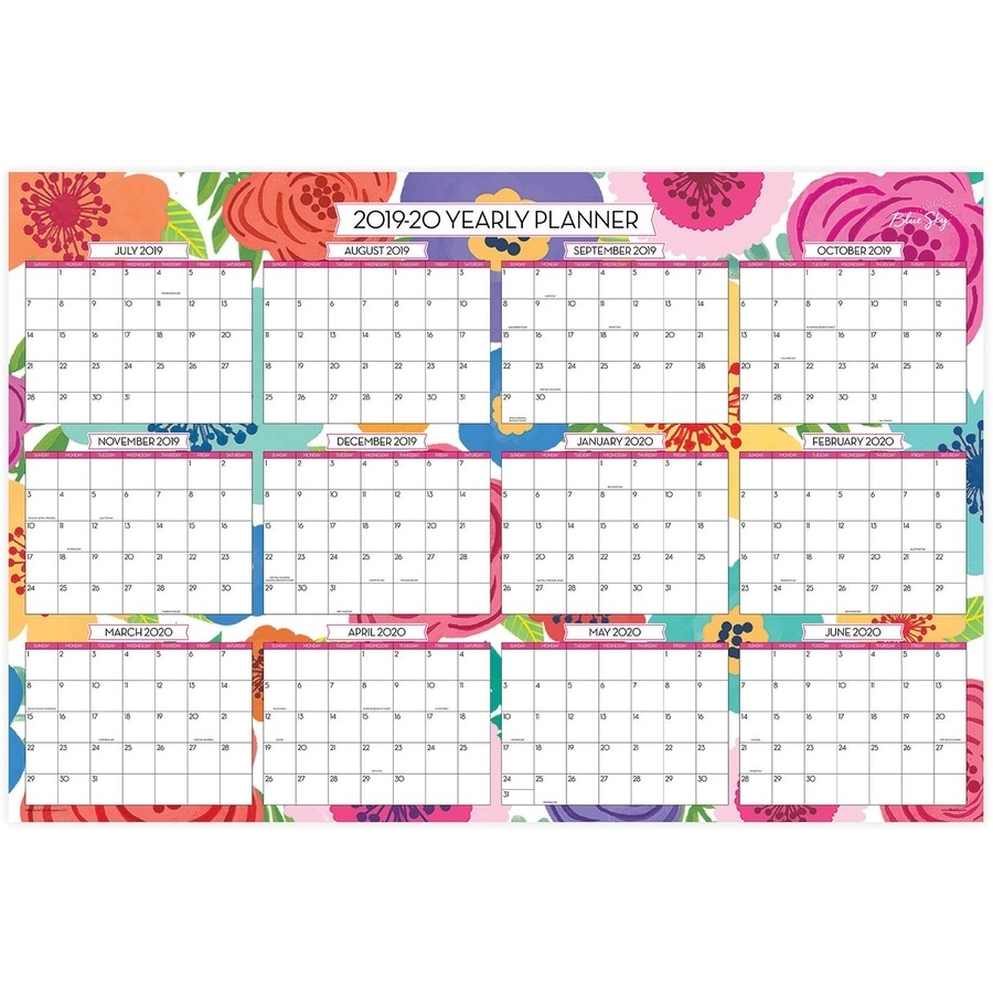 Blue Sky Mahalo Floral Laminated Wall Calendar - Large Size - Yes -  Monthly, Yearly - 1 Year - January Till December, July Till June - Wall  Mountable