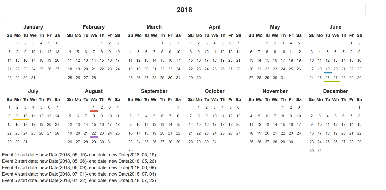 Year Calendar In Html