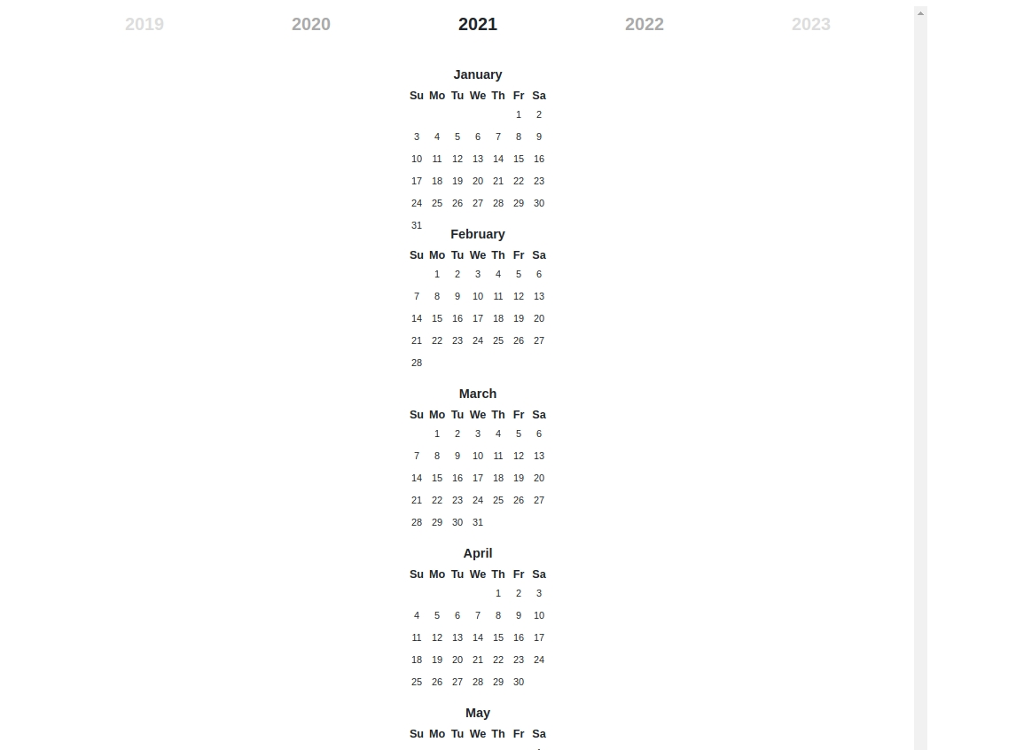 Bootstrap-Year-Calendar Showing All The Months Vertically