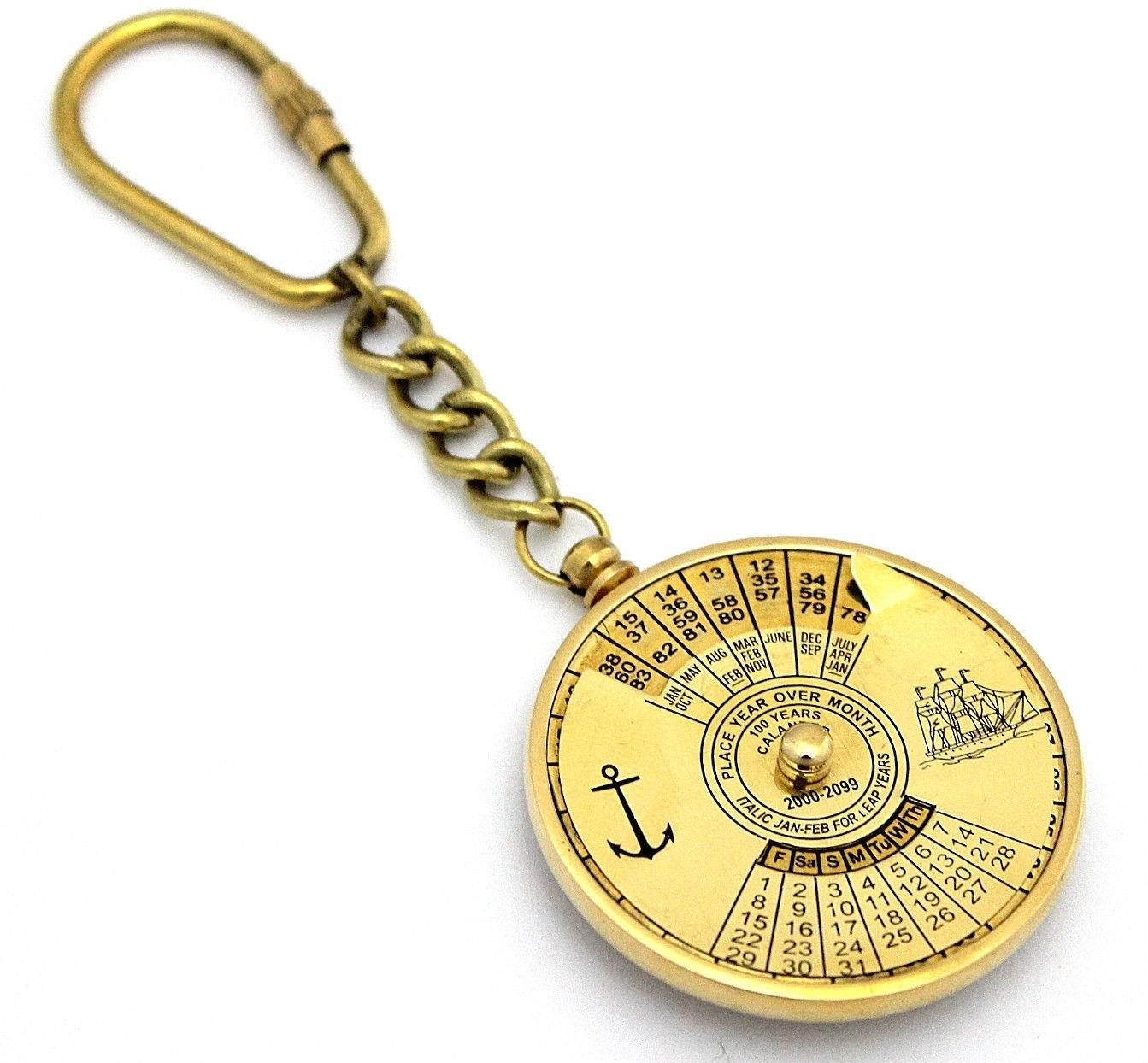 Brass 100 Years Perpetual Calendar & World Timer Keyring