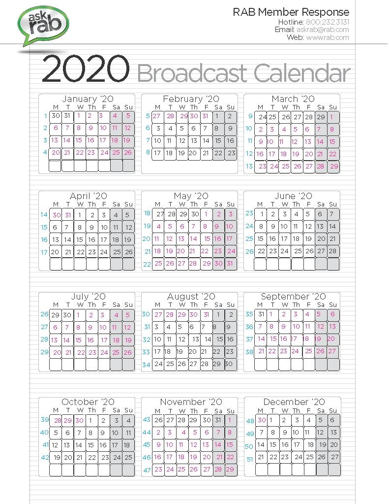 Broadcast Calendars | Rab