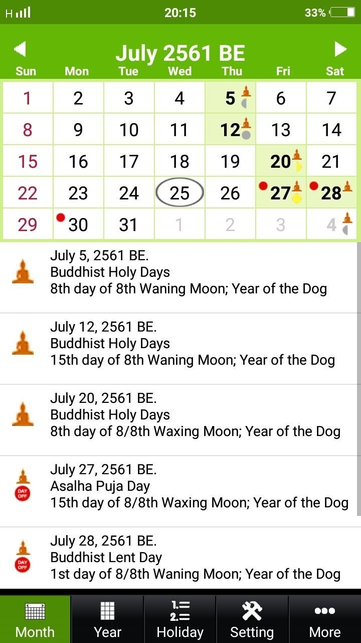 Buddhist Thai Calendar 2019 For Android - Apk Download