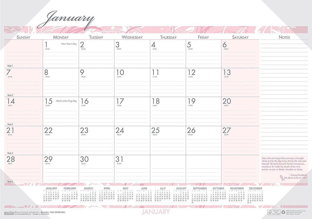 Bulk 2020 Breast Cancer Awareness Desk Pad Calendars, Jan-Dec: Hod1467 (24  Desk Pad Calendars)