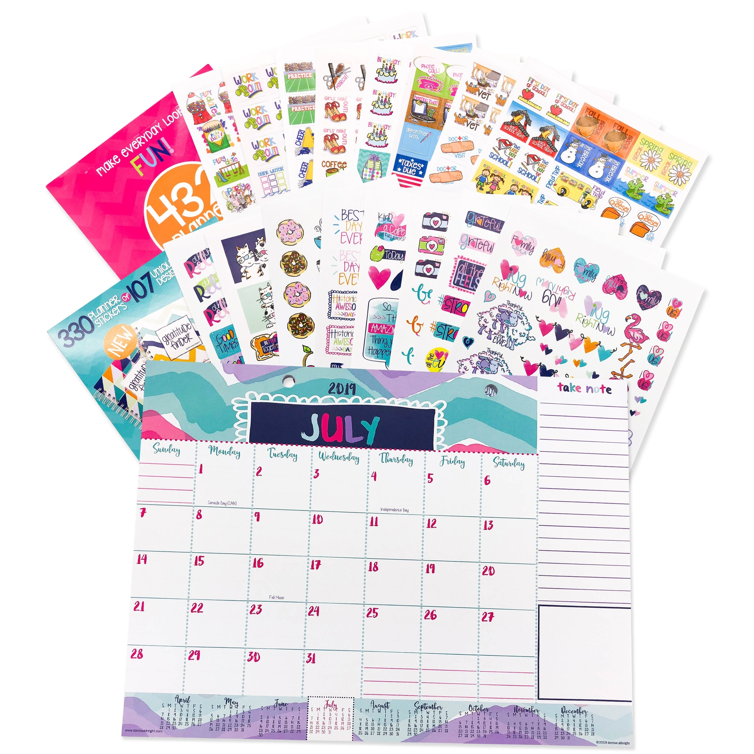 Bundle Of 2019-2020 Mini Monthly Desk Calendar With Lists, Tools + Two  Sticker Set | 5 Styles | Great Gift For Her