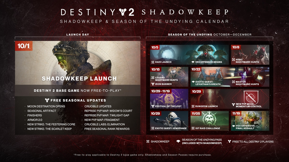 Bungie Reveals Destiny 2: Shadowkeep's Calendar - Polygon
