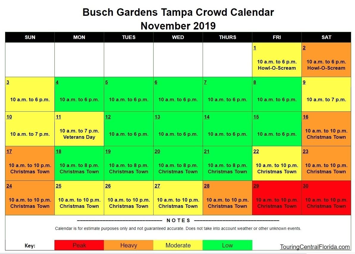 Busch Gardens Tampa Crowd Calendar - Touring Central Florida
