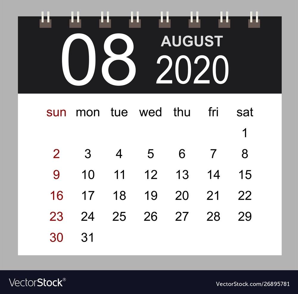 Business Calendar 2020 August Notebook