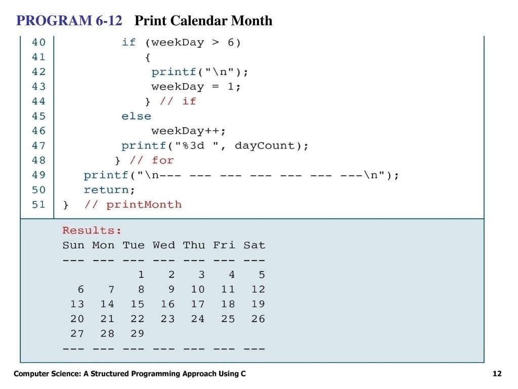 C Program For Printing Calendar | Calendar Design Ideas