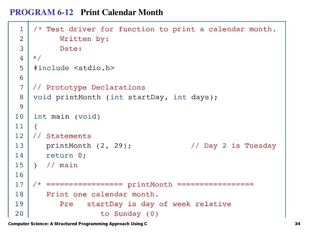 C Program For Printing Calendar • Printable Blank Calendar