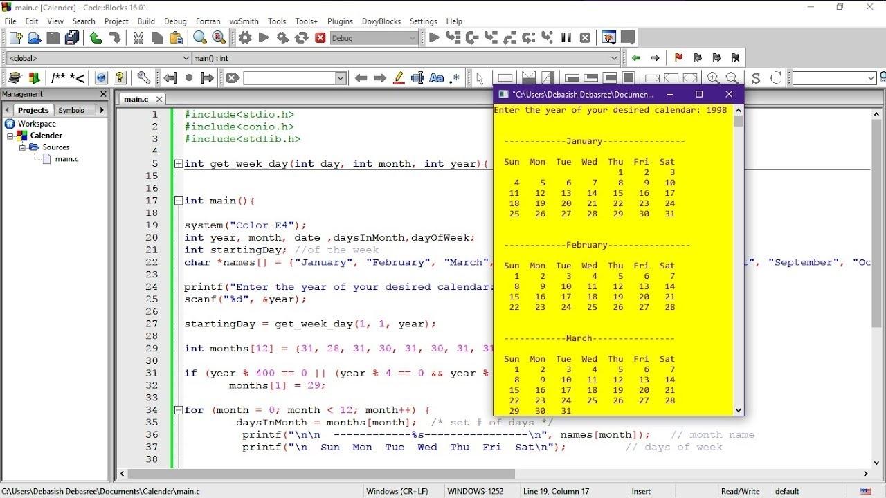 C Program To Make A Calendar | Easiest Way | Stepstep