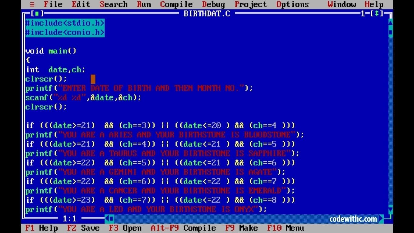 C Program To Print Calendar Of A Month • Printable Blank