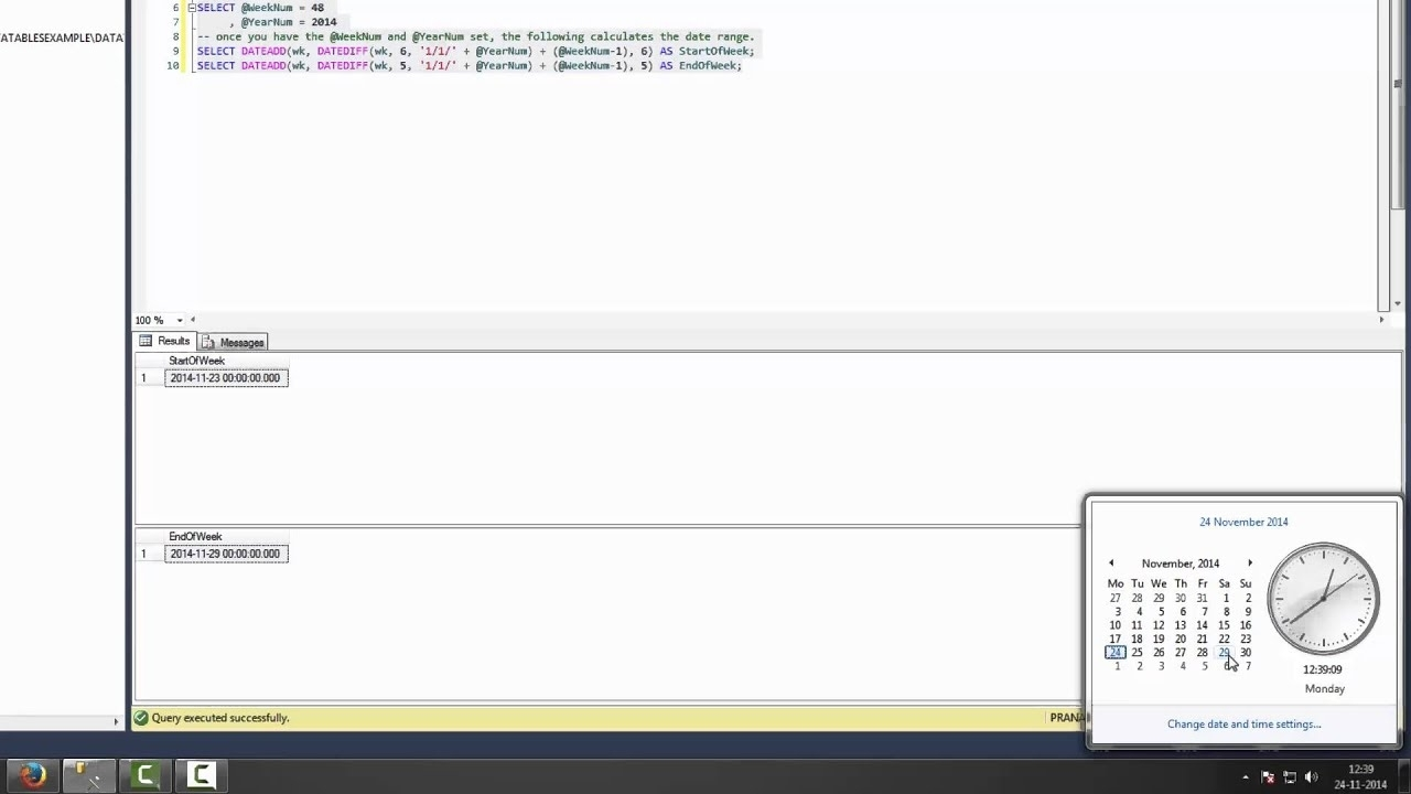 Calculate Sart And End Of Week Using Week Adn Yerar(Sunday Start Date) -Sql  Server